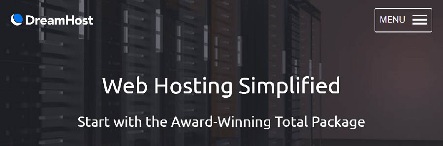 dreamhost web hosting simplified landing page