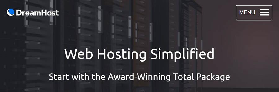 dreamhost web hosting simplified landing page