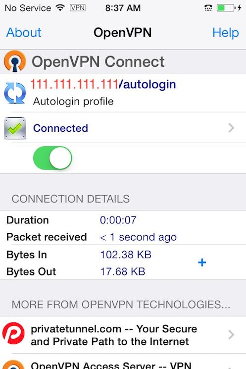 Aplikasi OpenVPN iOS terhubung ke VPN