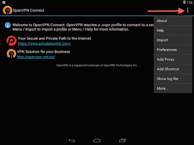 Die Menüauswahl für den Import des Profils in der OpenVPN-App für Android