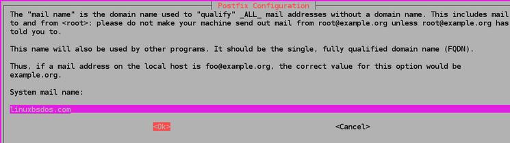 Ingrese su nombre de dominio y, luego, presione TAB para seleccionar<Ok>y, luego, ENTER