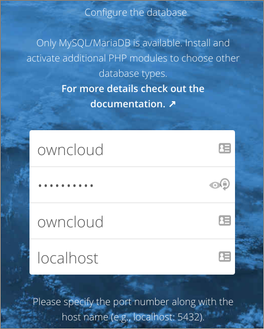 ownCloud database configuration