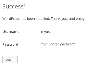 WordPress login prompt