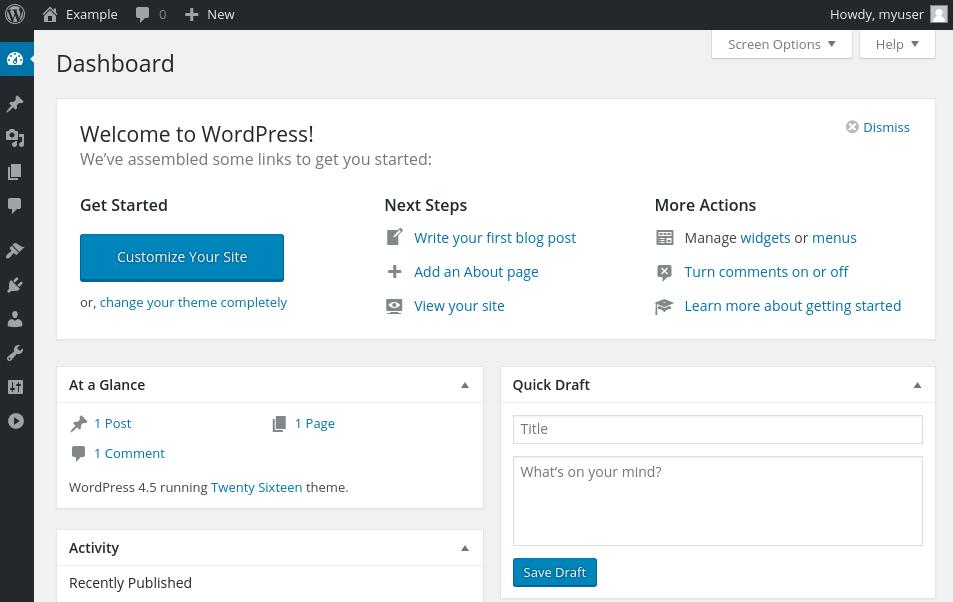 Prompt log masuk WordPress