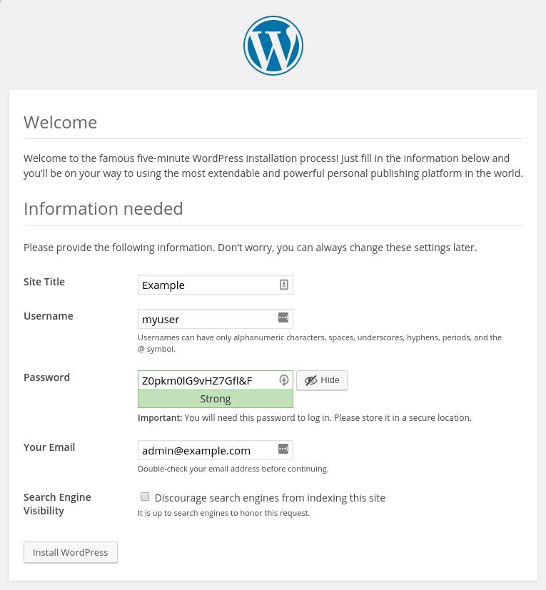 Instalasi penyiapan WordPress