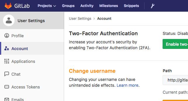 GitLab account menu item