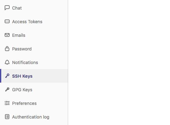 GitLab SSH Keys menu item