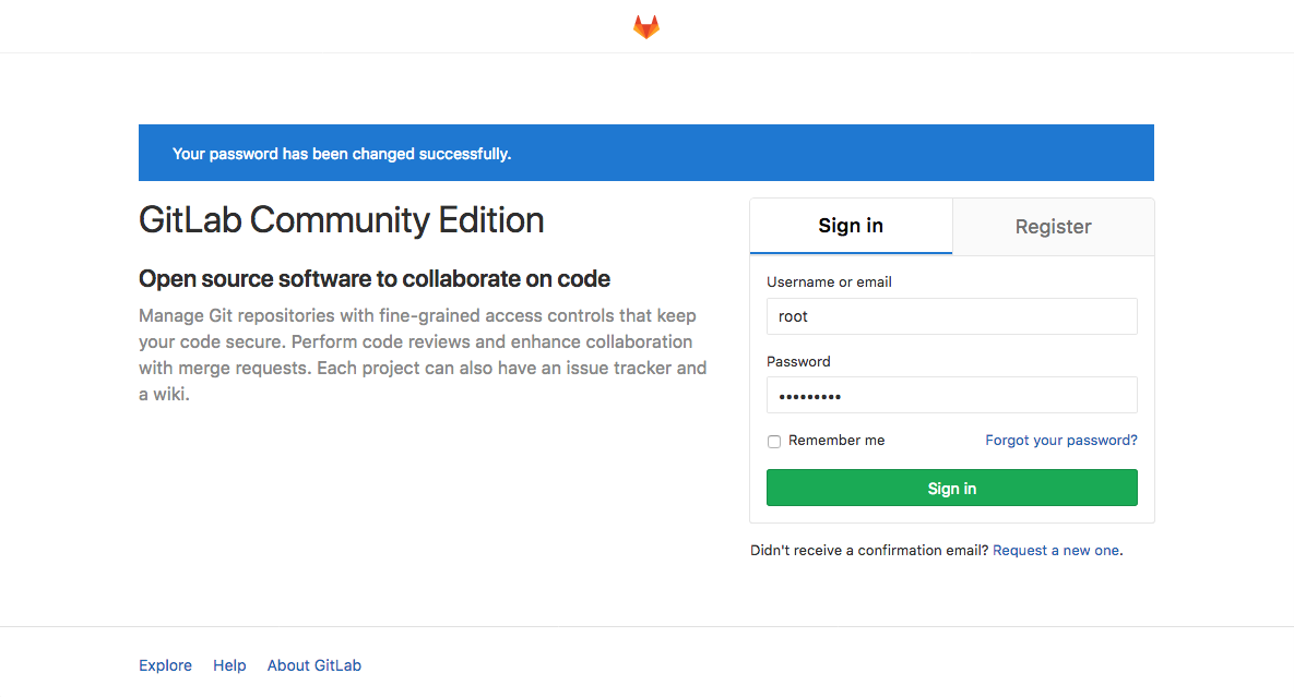 GitLab first sign in prompt