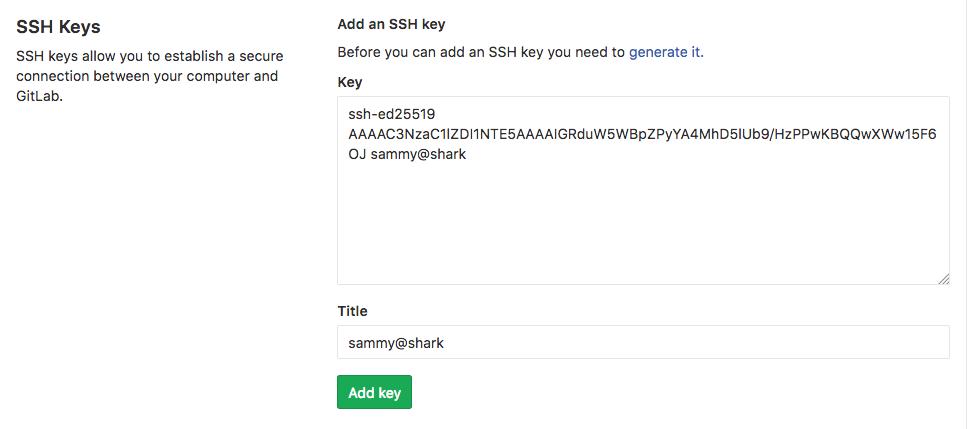 GitLab add SSH Key