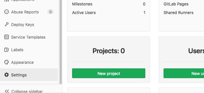 GitLab administrative settings button