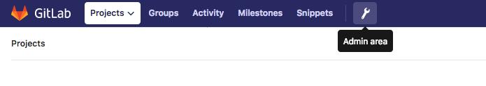 GitLab administrative area button