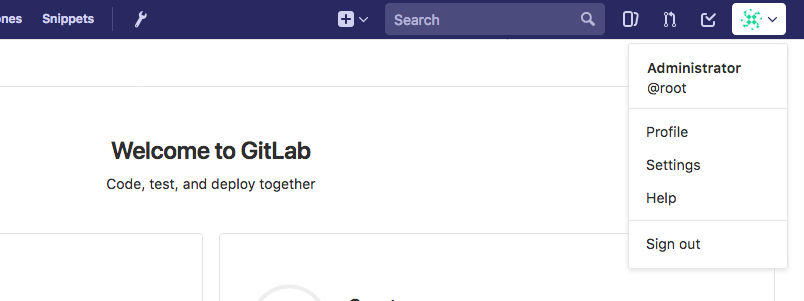 GitLab profile settings button