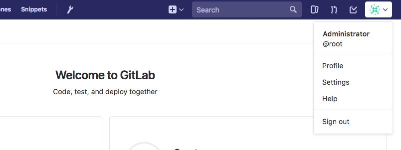 GitLab profile settings button