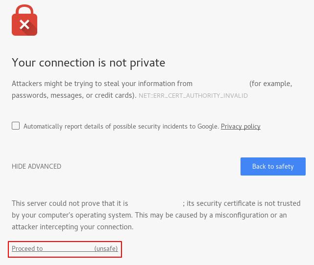 Обход предупреждения о самоподписанном сертификате Apache