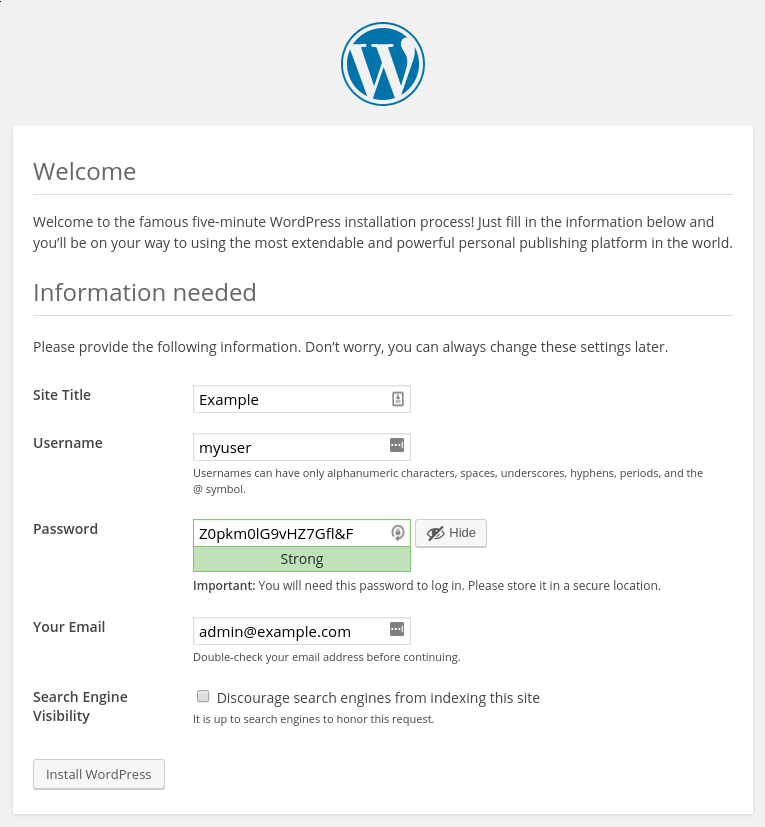 Настройка установки WordPress