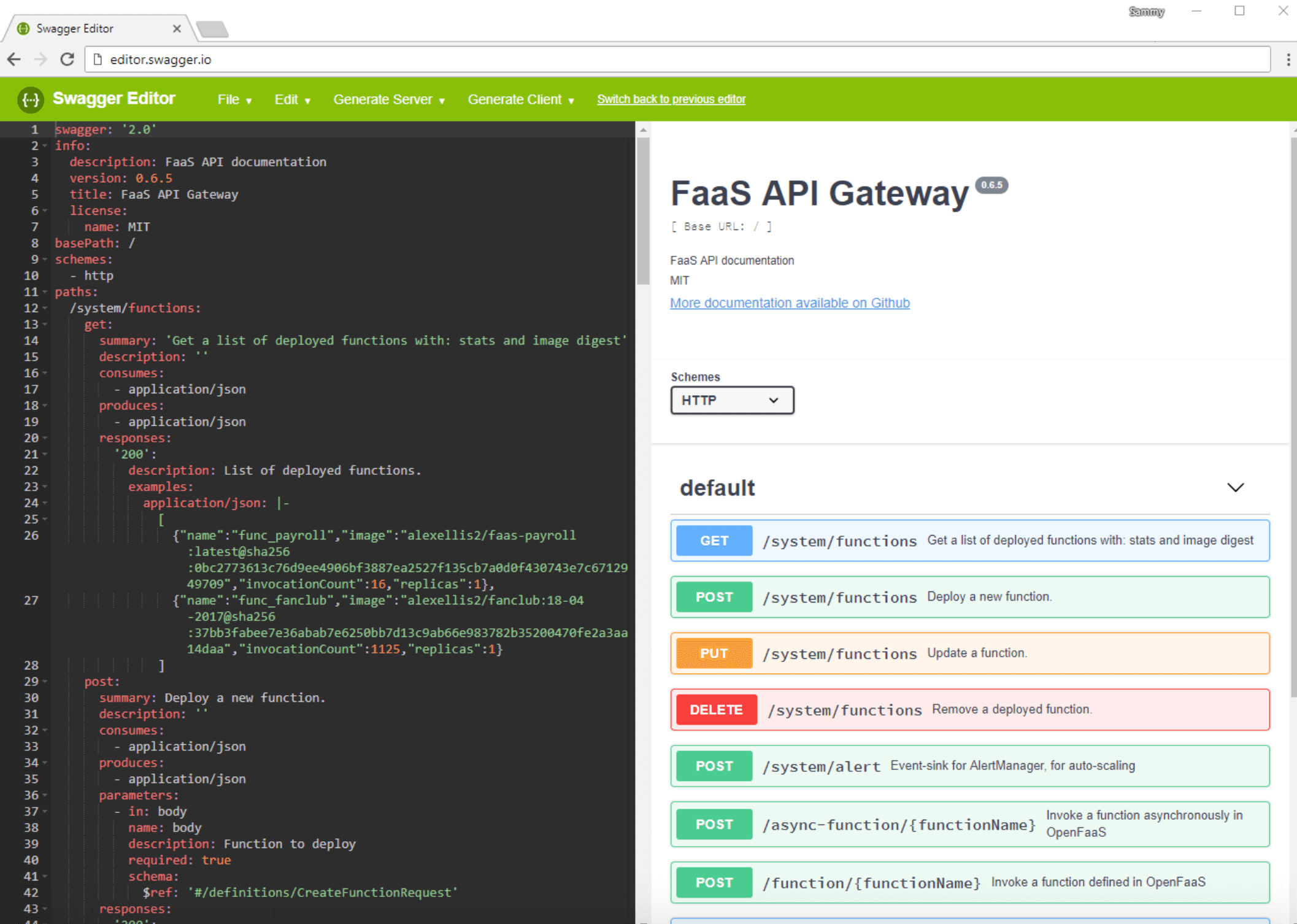 Swagger Editor OpenFaaS API specification