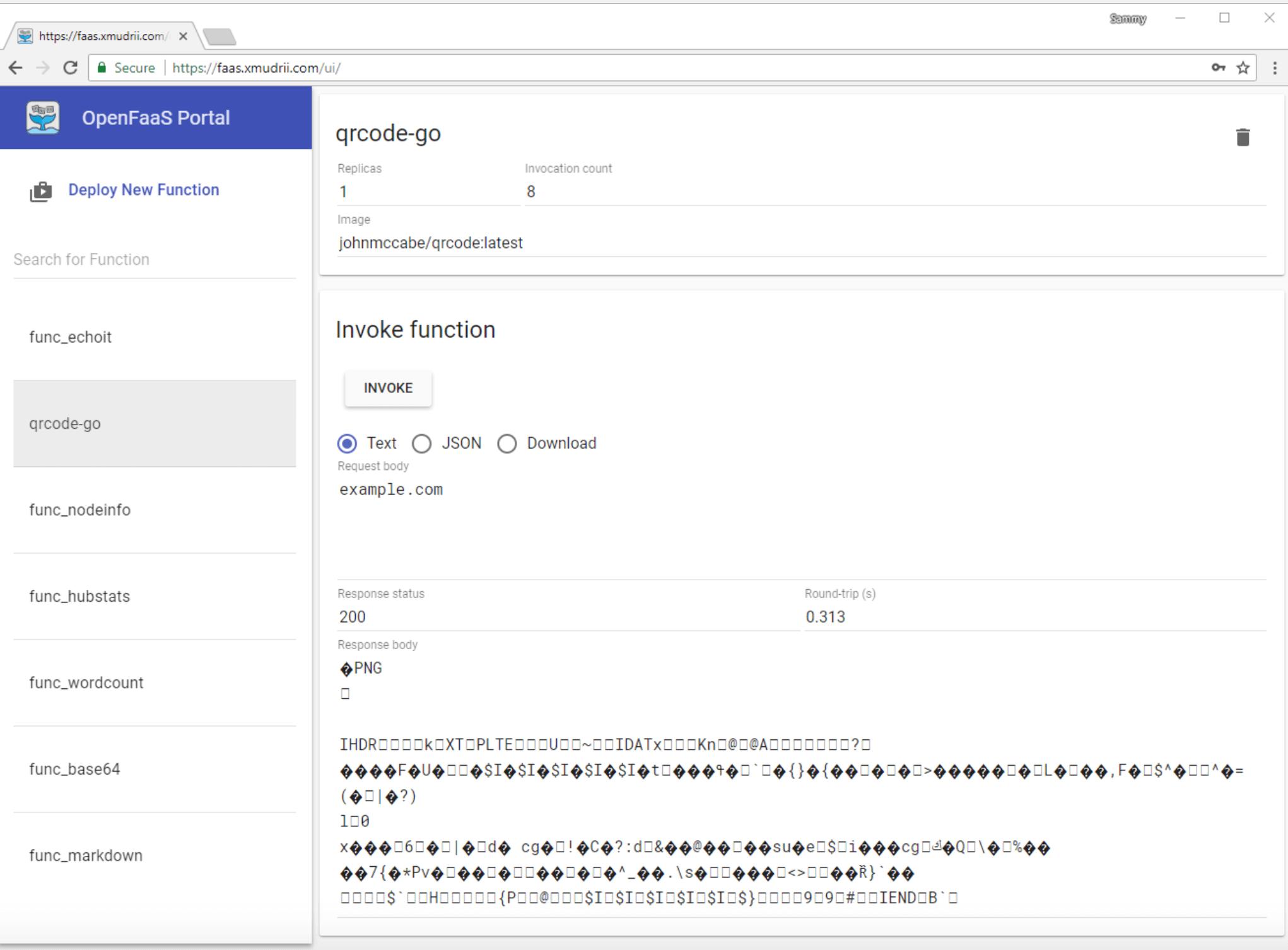 OpenFaaS generated QR code