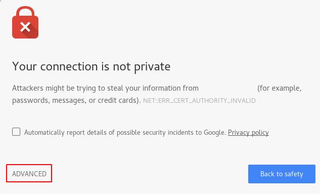 Предупреждение о самоподписанном сертификате Apache
