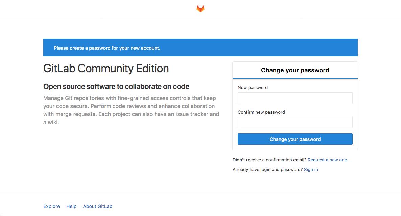 GitLab initial password set prompt