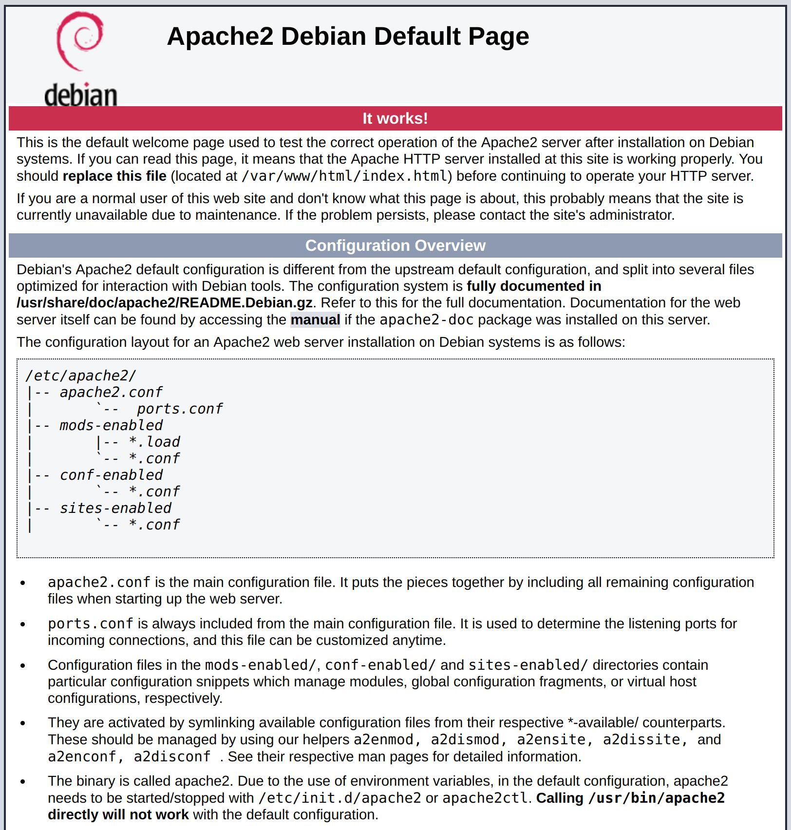 Debian 9 Apache default