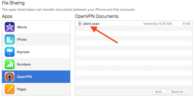 iTunes menunjukkan profil VPN yang siap untuk dimuat pada iPhone
