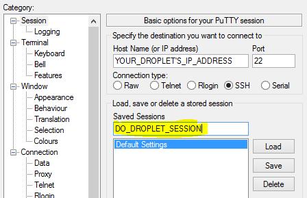 Введите URL или IP-адрес сервера в Putty