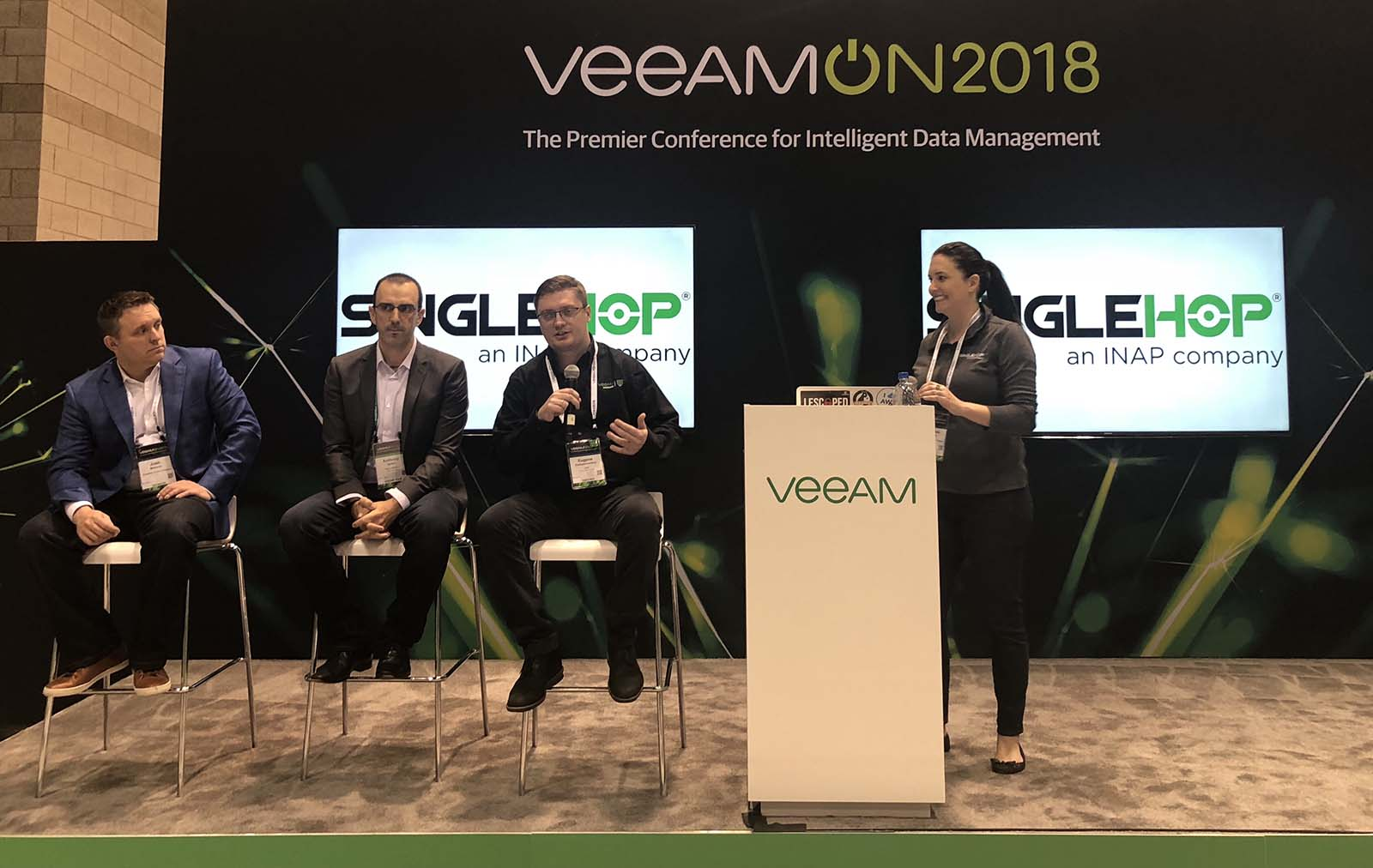 SingleHop team on stage at VeeamON 2018