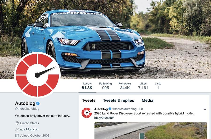 Autoblog's Twitter profile.