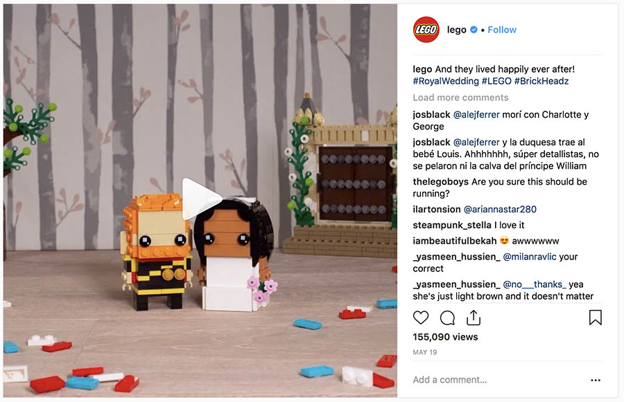 Lego's Royal Wedding-themed Instagram post.