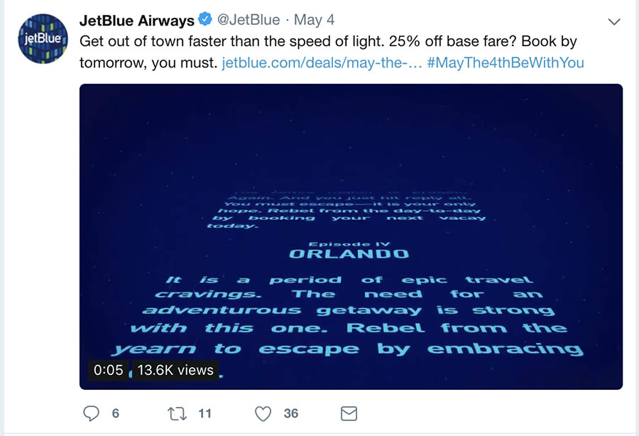 JetBlue's Star Wars-themed holiday Twitter post.