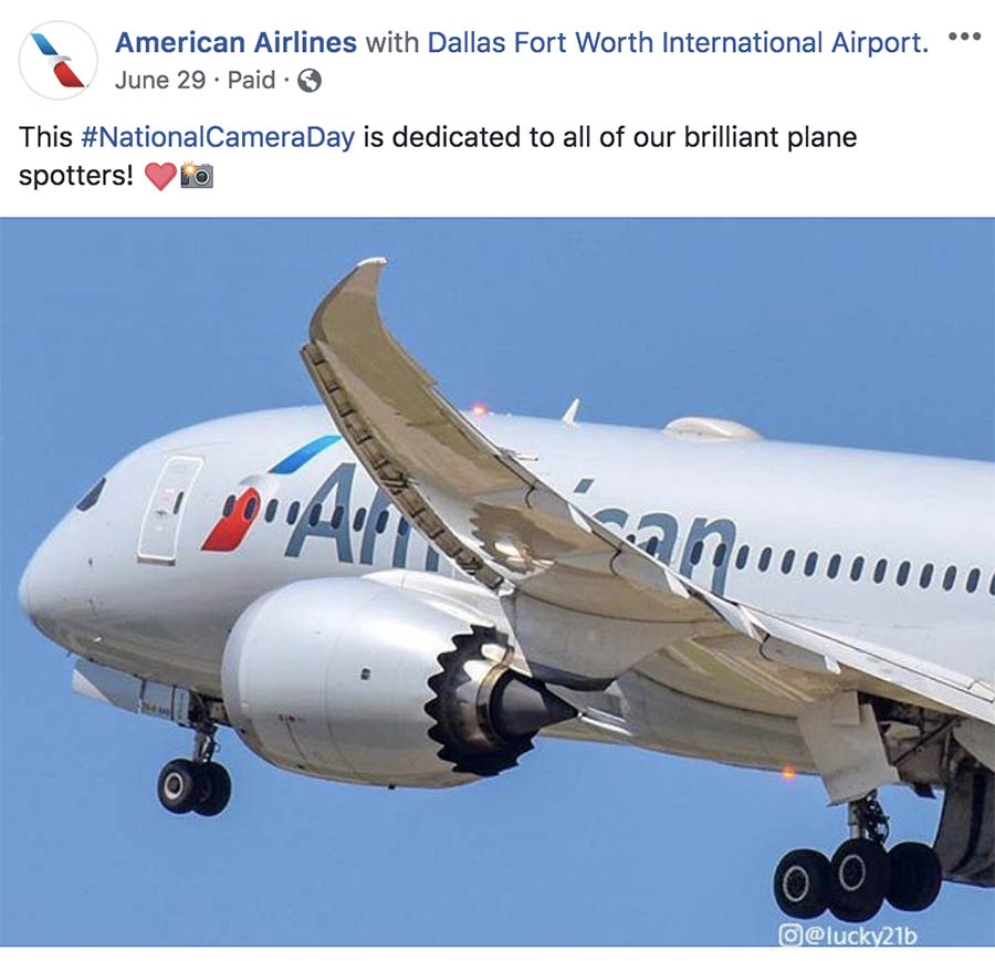 American Airlines Facebook post.