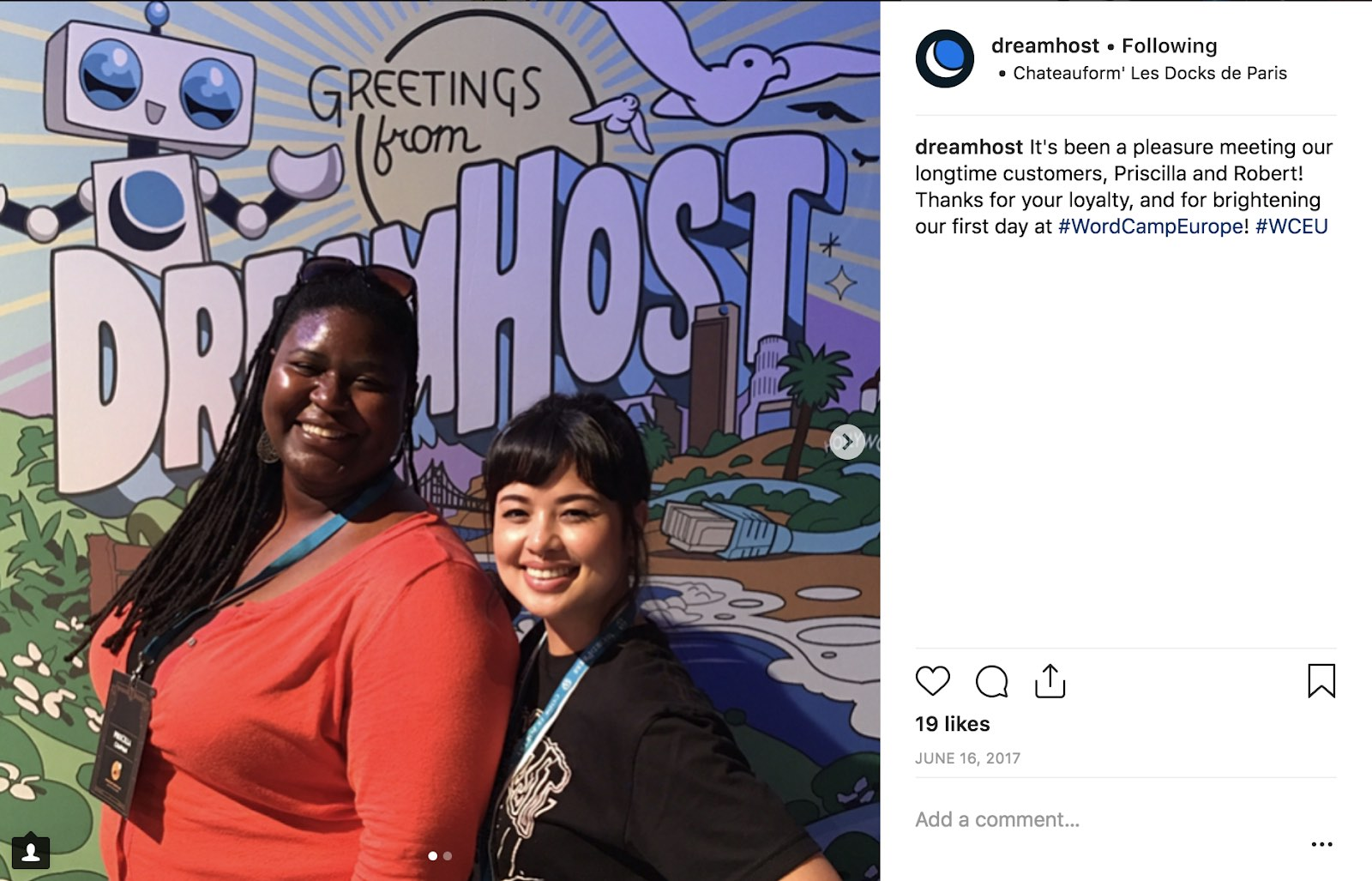 DreamHost post on Instagram.