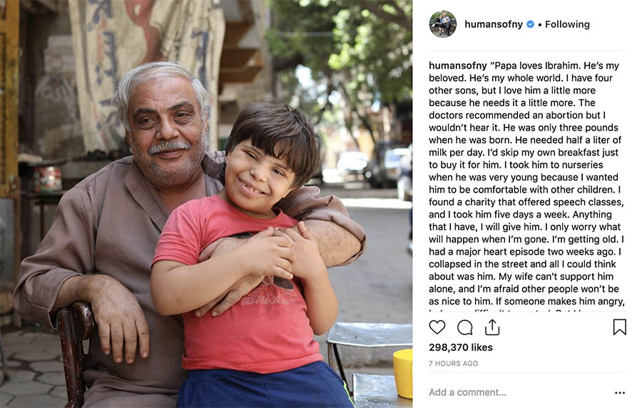 Humans of New York Instagram post.