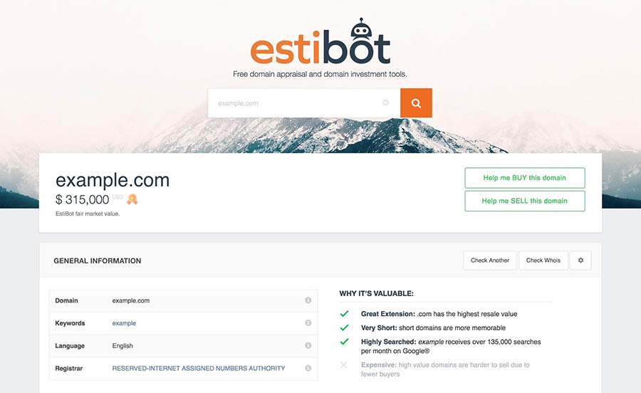 A domain appraisal in EstiBot for example.com.
