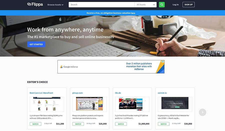 The Flippa homepage.