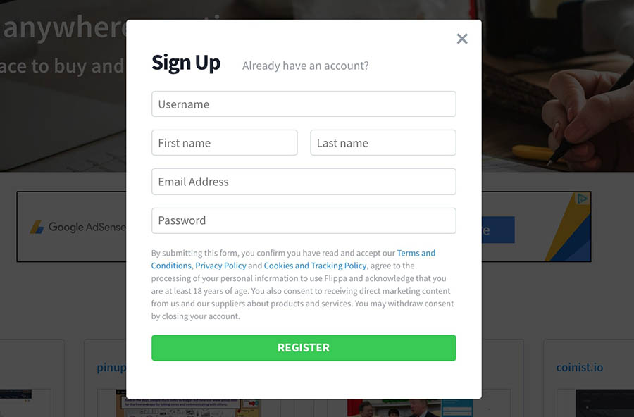 Signing up for a Flippa account.