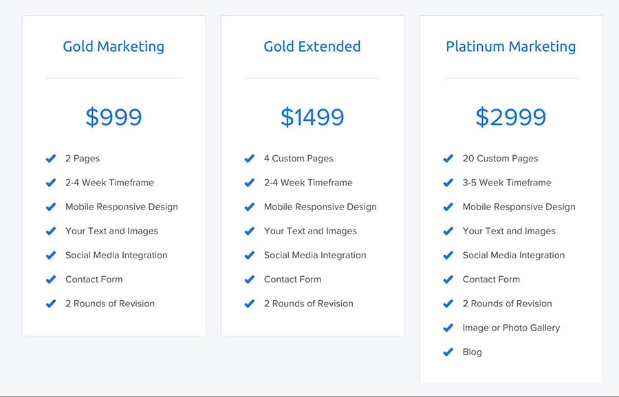 The different design service tiers offered by DreamHost.