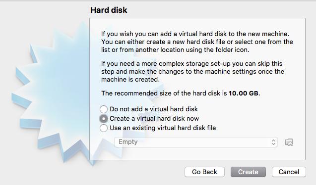 Create Hard Disk Window