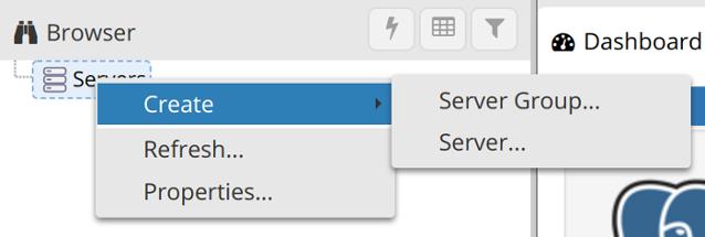 Menú contextual Create - Server