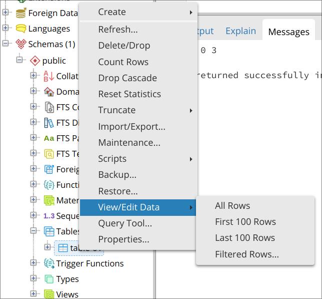 Menú contextual de View/Edit Data, All Rows
