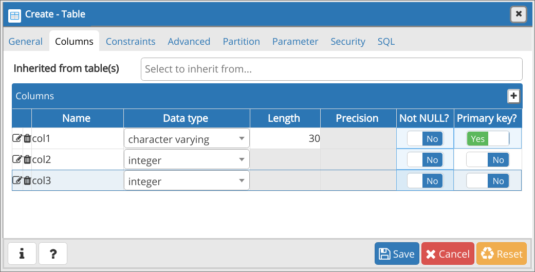 Create - Table: Pestaña Columns con clave primaria activada