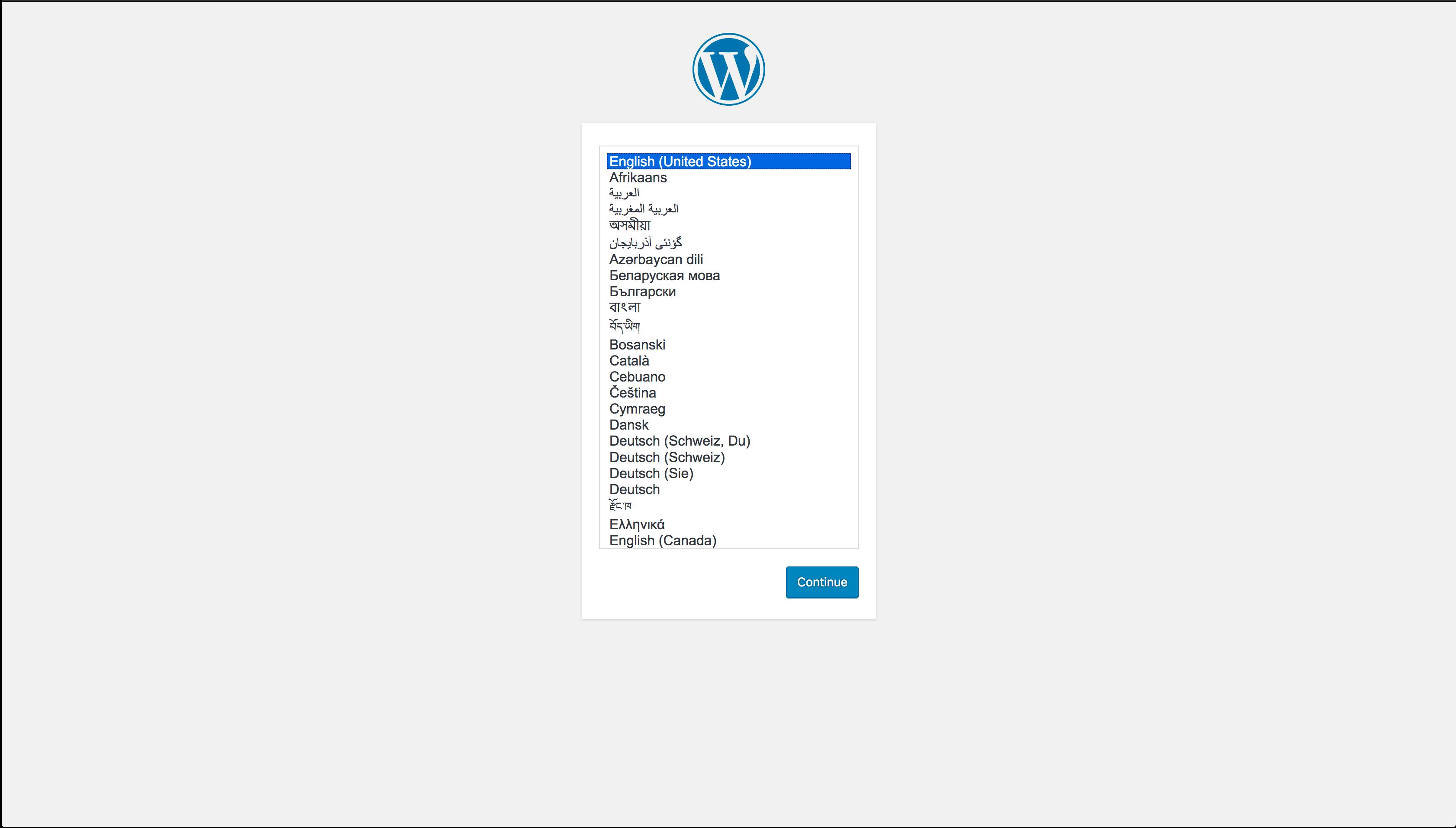 Экран настройки WordPress