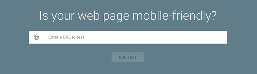 The Mobile-Friendly Test home page.