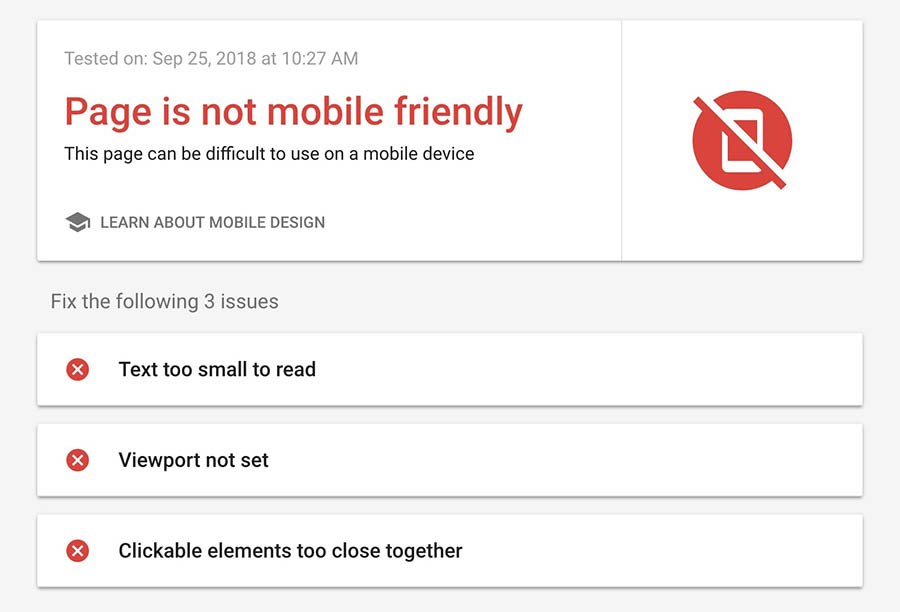 Mobile-Friendly Test results, showing that the page is not mobile friendly.