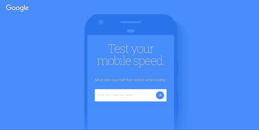 The Mobile Speed Test home page.
