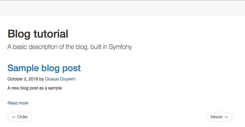 Alt screenshot of the Symfony blog application