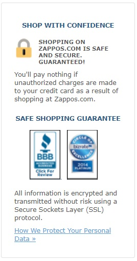 Zappos' safe shopping guarantee.