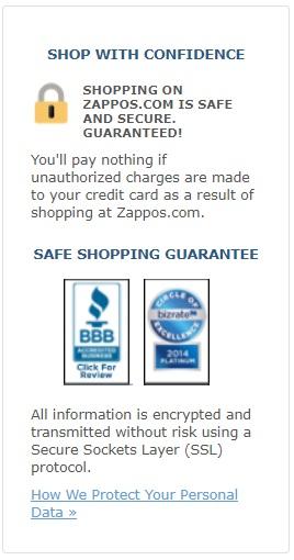 Zappos' safe shopping guarantee.