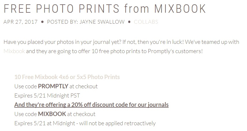 Free photo prints offer from Mixbook.