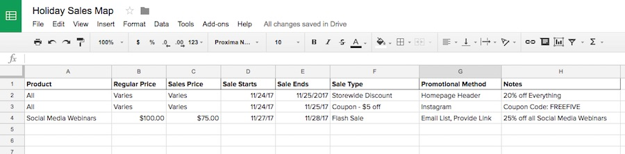 Holiday sales map spreadsheet.